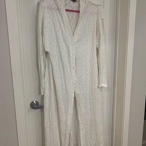 White full length cardigan